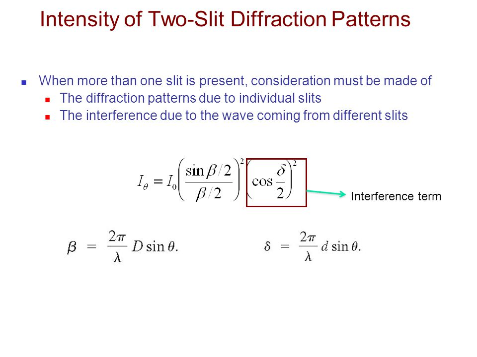 Intensity of Two-Slit Diffraction Patterns