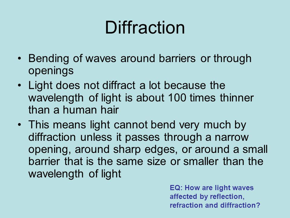 Diffraction Bending of waves around barriers or through openings
