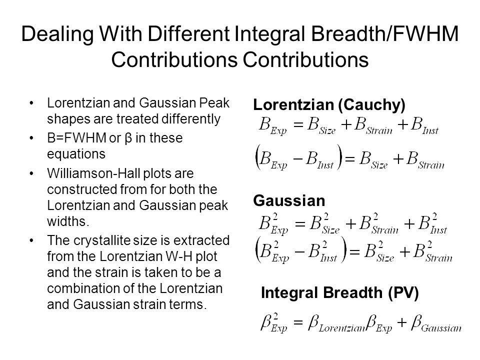 Dealing With Different Integral Breadth/FWHM Contributions Contributions