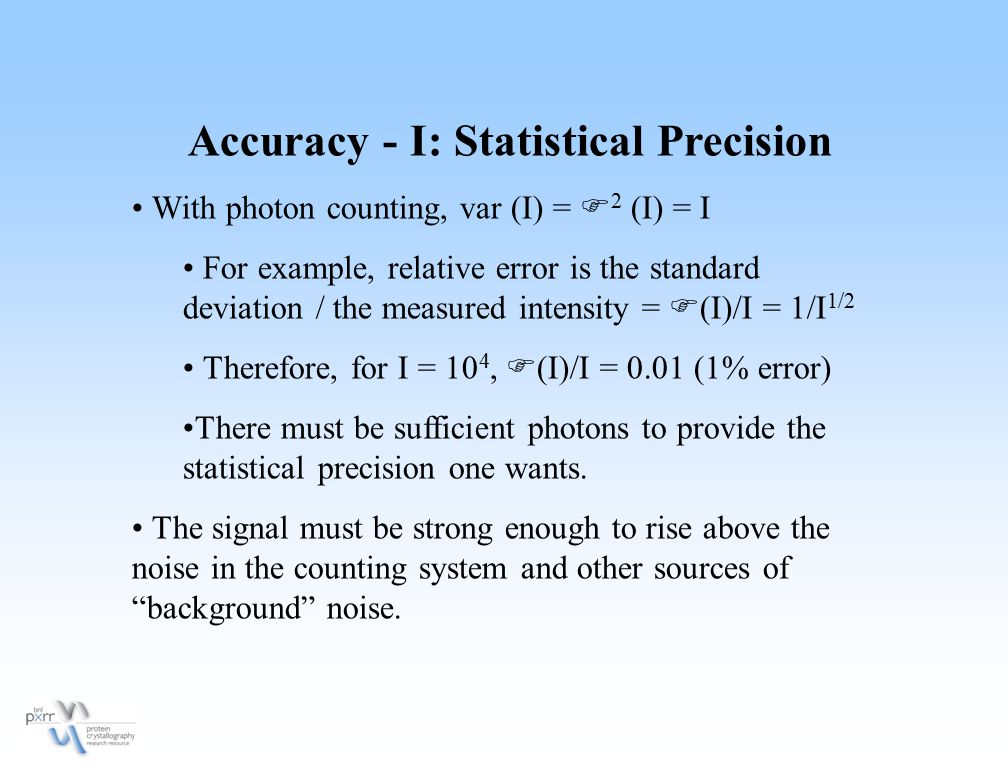 Accuracy - I: Statistical Precision