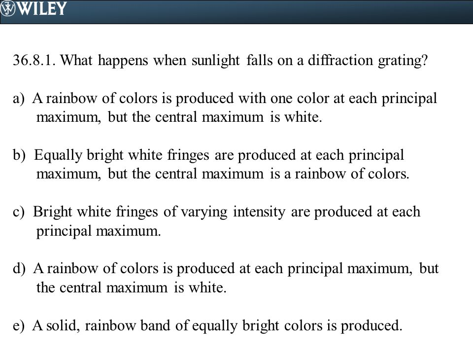 36.8.1. What happens when sunlight falls on a diffraction grating