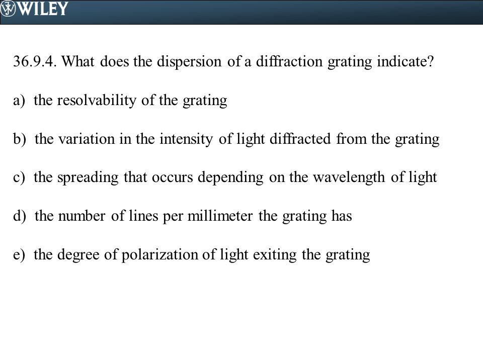 36.9.4. What does the dispersion of a diffraction grating indicate