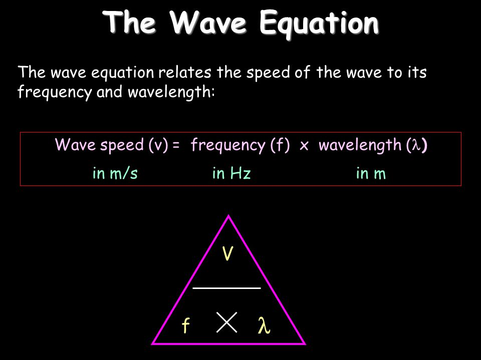 Wave speed (v) = frequency (f) x wavelength ()