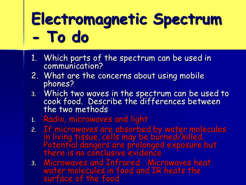 Electromagnetic Spectrum - To do