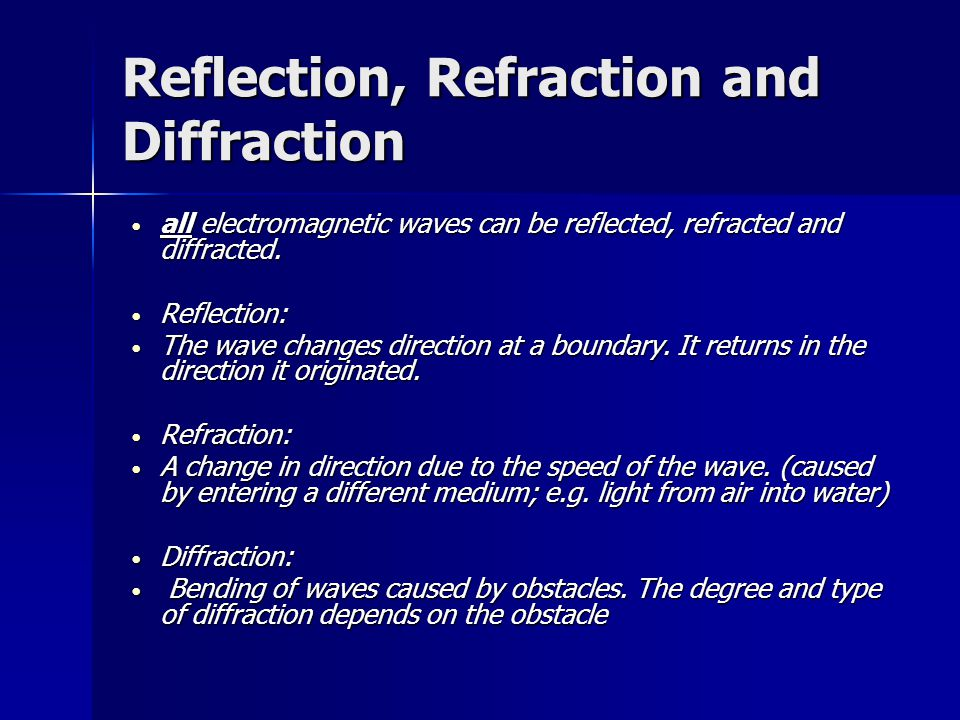 Reflection, Refraction and Diffraction