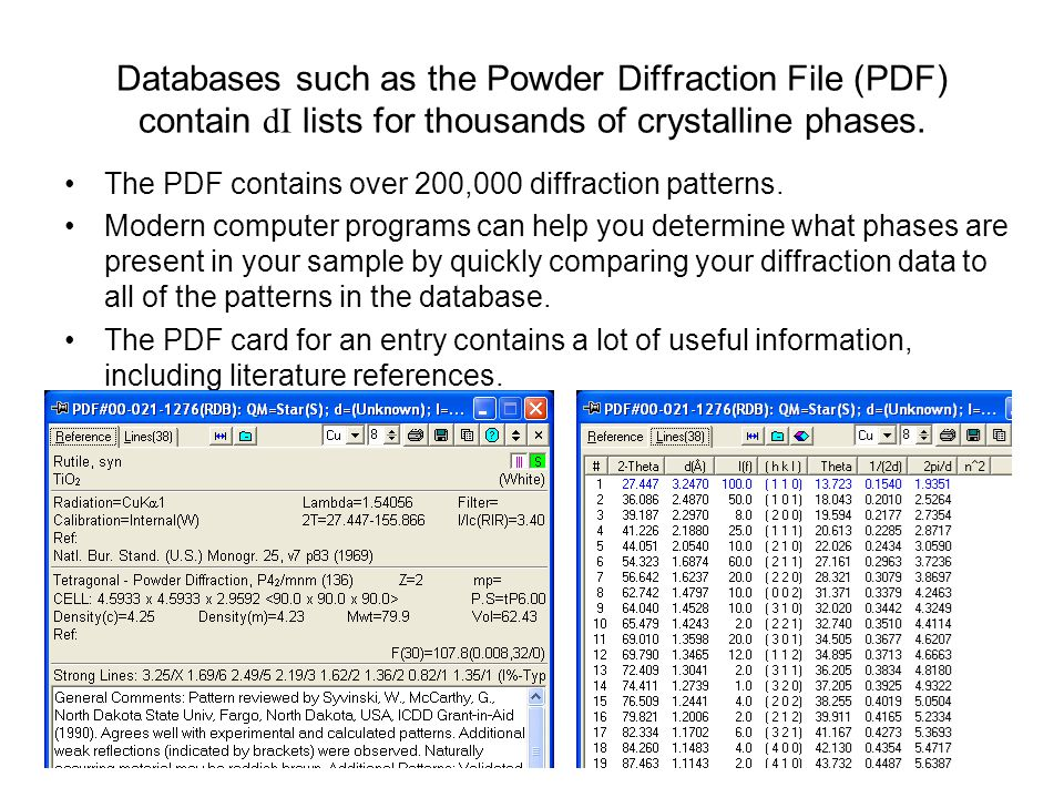 Databases such as the Powder Diffraction File (PDF) contain dI lists for thousands of crystalline phases.