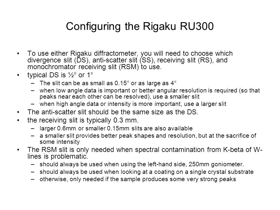 Configuring the Rigaku RU300