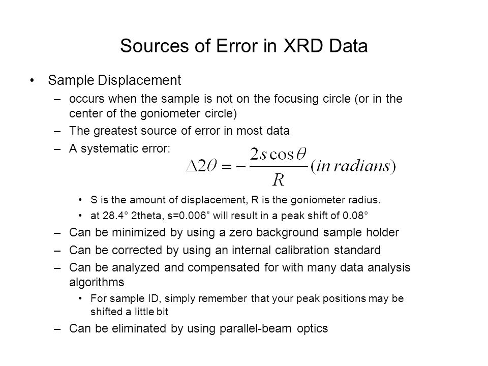 Sources of Error in XRD Data