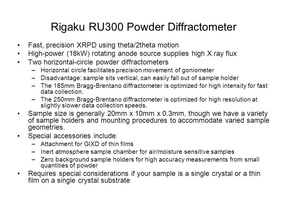 Rigaku RU300 Powder Diffractometer
