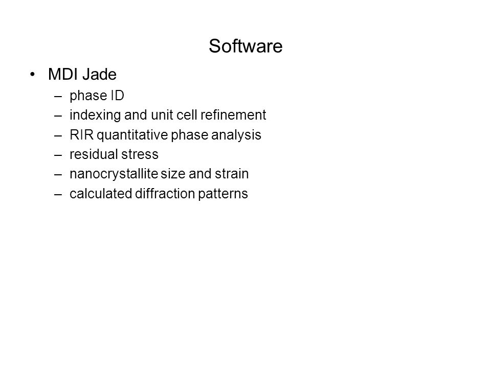 Software MDI Jade phase ID indexing and unit cell refinement