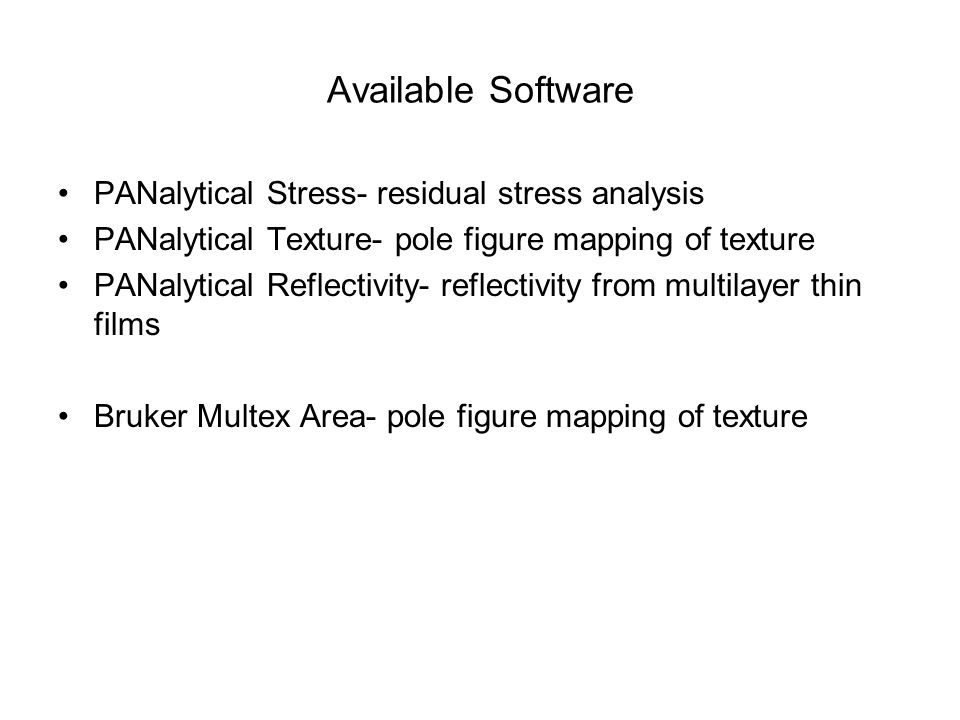 Available Software PANalytical Stress- residual stress analysis