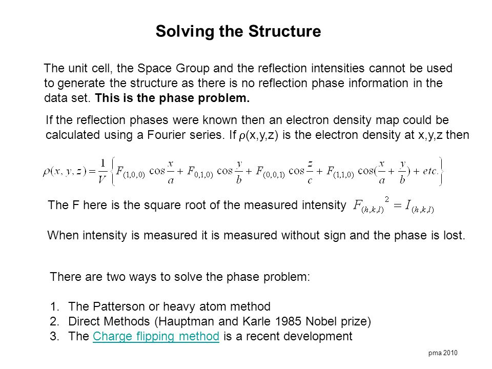 Solving the Structure The unit cell, the Space Group and the reflection intensities cannot be used.