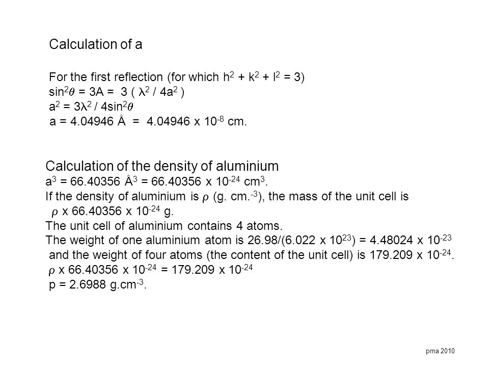 Calculation of the density of aluminium