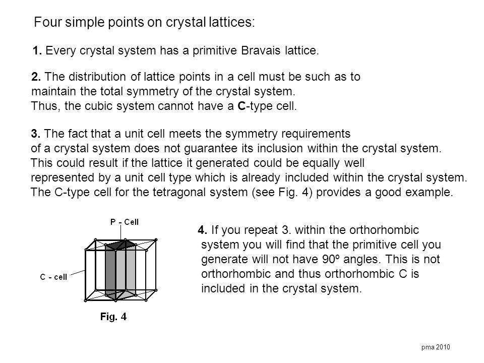 Four simple points on crystal lattices:
