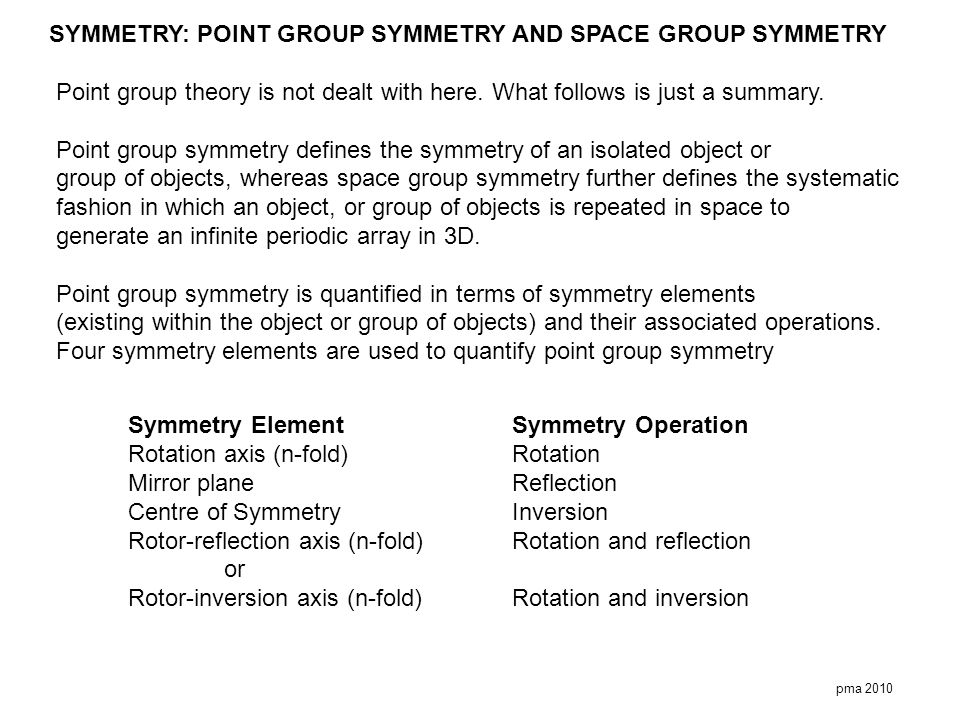 SYMMETRY: POINT GROUP SYMMETRY AND SPACE GROUP SYMMETRY