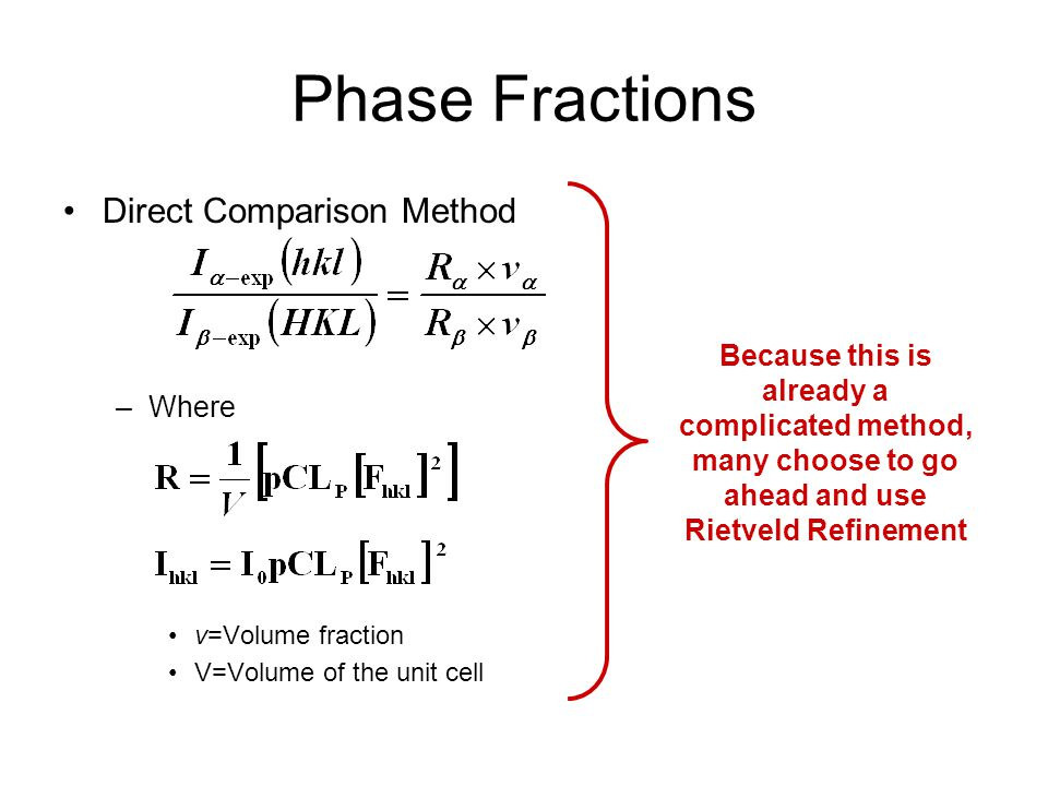Phase Fractions Direct Comparison Method Where
