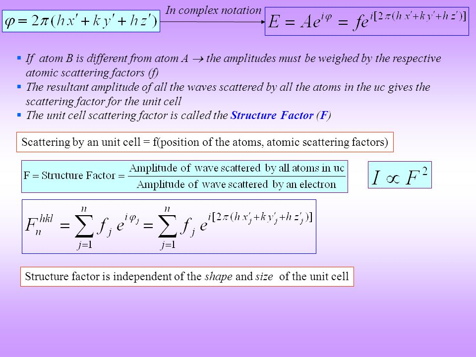 In complex notation If atom B is different from atom A  the amplitudes must be weighed by the respective atomic scattering factors (f)