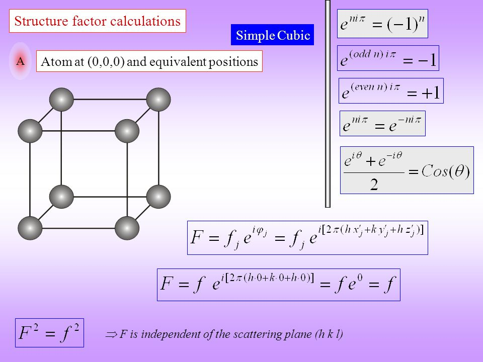 Structure factor calculations