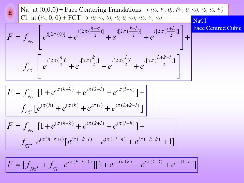 E Na+ at (0,0,0) + Face Centering Translations  (½, ½, 0), (½, 0, ½), (0, ½, ½) Cl− at (½, 0, 0) + FCT  (0, ½, 0), (0, 0, ½), (½, ½, ½)