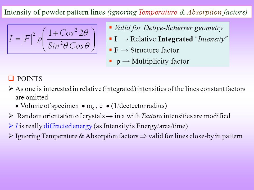 Valid for Debye-Scherrer geometry I → Relative Integrated Intensity