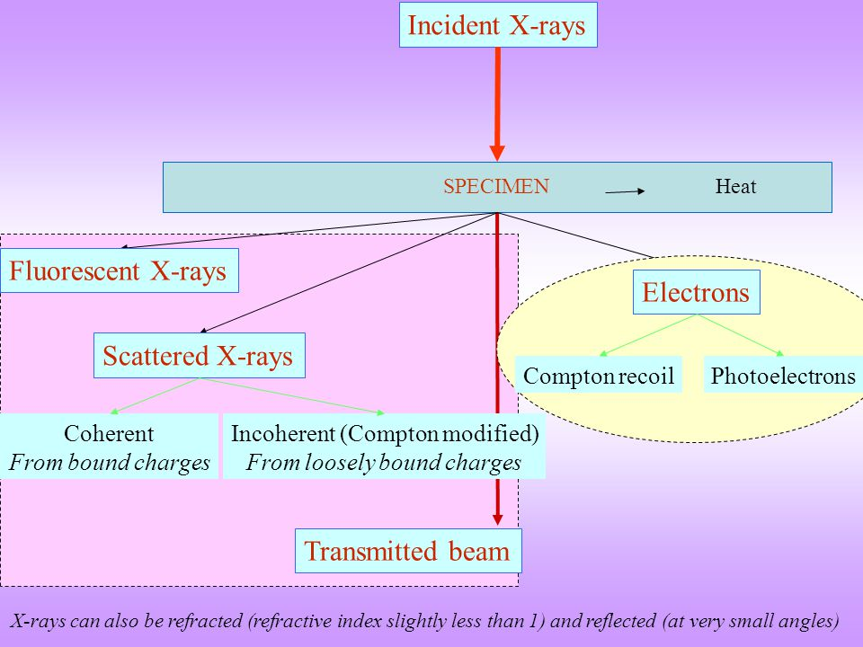 Incident X-rays Fluorescent X-rays Electrons Scattered X-rays