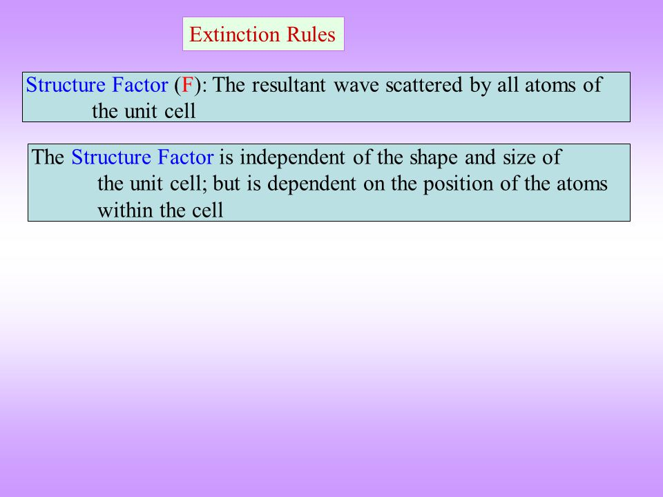 Extinction Rules Structure Factor (F): The resultant wave scattered by all atoms of the unit cell.
