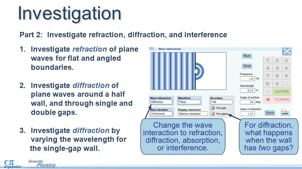 Investigation Part 2: Investigate refraction, diffraction, and interference. Investigate refraction of plane waves for flat and angled boundaries.