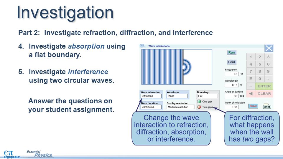 Investigation Part 2: Investigate refraction, diffraction, and interference. Investigate absorption using a flat boundary.