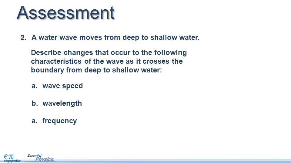Assessment A water wave moves from deep to shallow water.