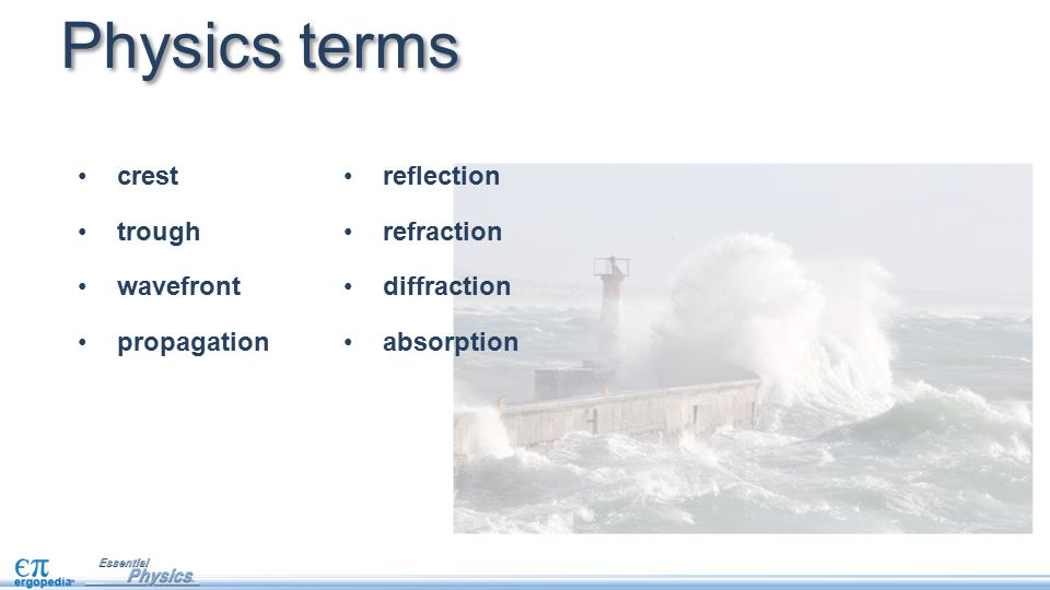 Physics terms crest trough wavefront propagation reflection refraction