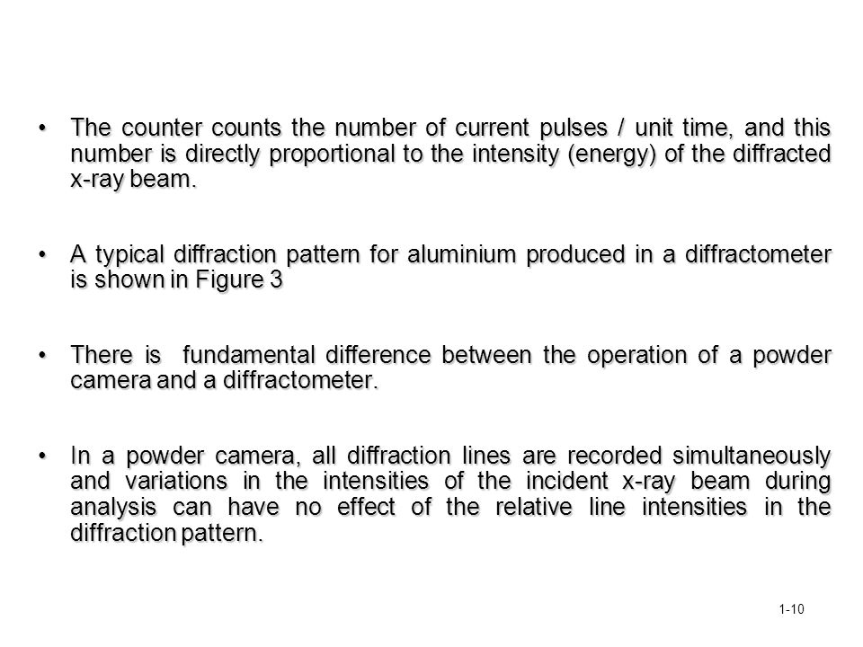 The counter counts the number of current pulses / unit time, and this number is directly proportional to the intensity (energy) of the diffracted x-ray beam.