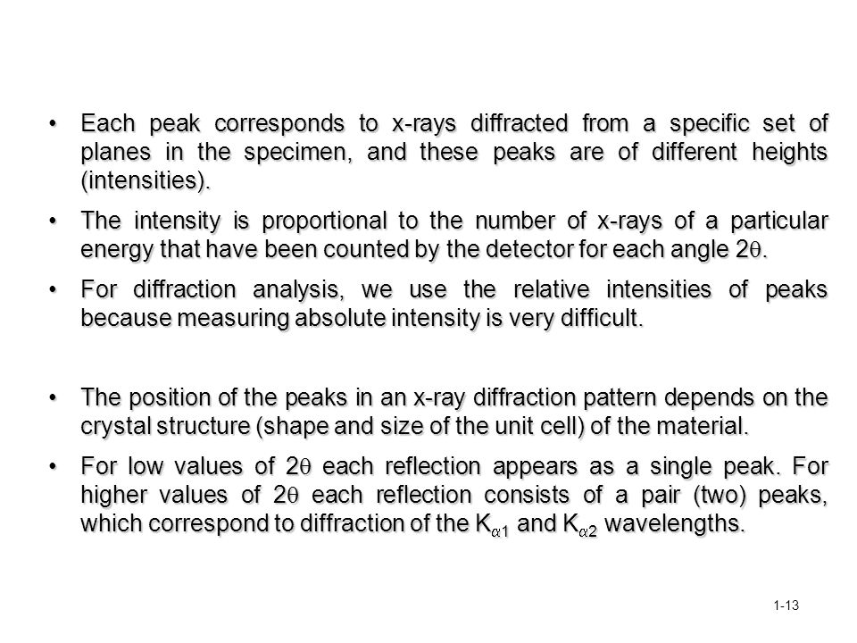 Each peak corresponds to x-rays diffracted from a specific set of planes in the specimen, and these peaks are of different heights (intensities).