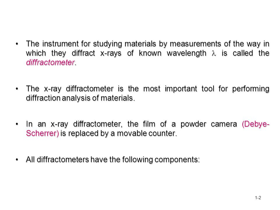 All diffractometers have the following components: