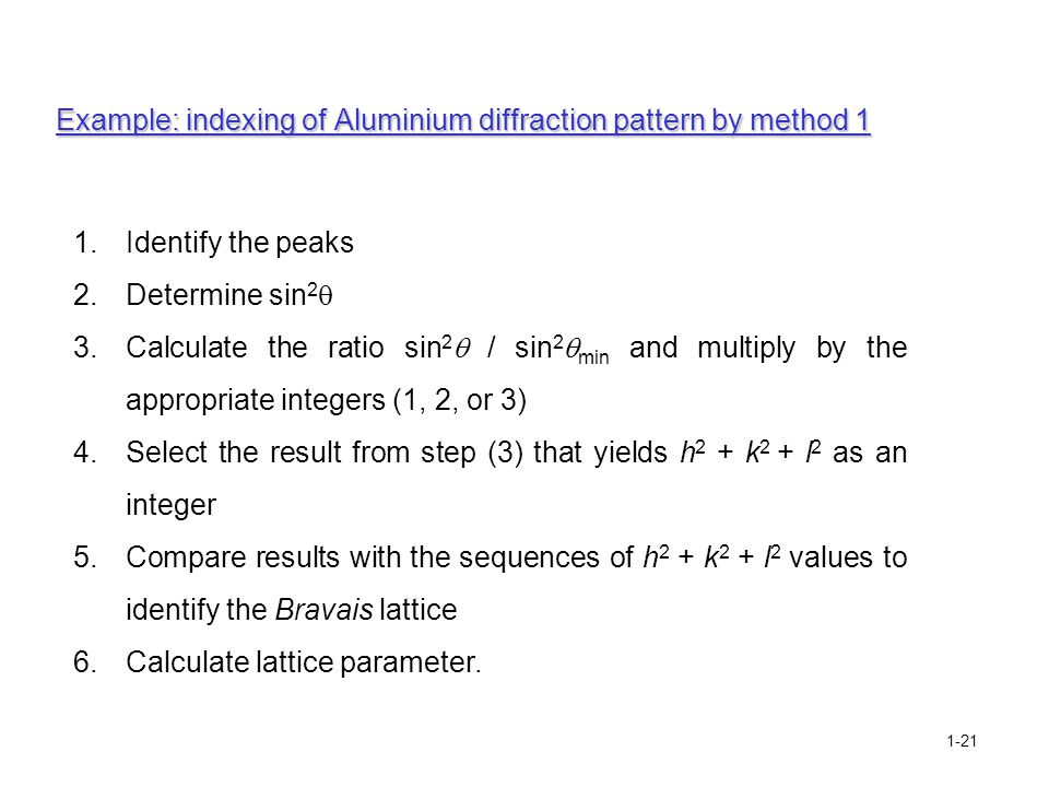 Example: indexing of Aluminium diffraction pattern by method 1