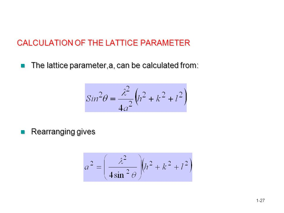 CALCULATION OF THE LATTICE PARAMETER