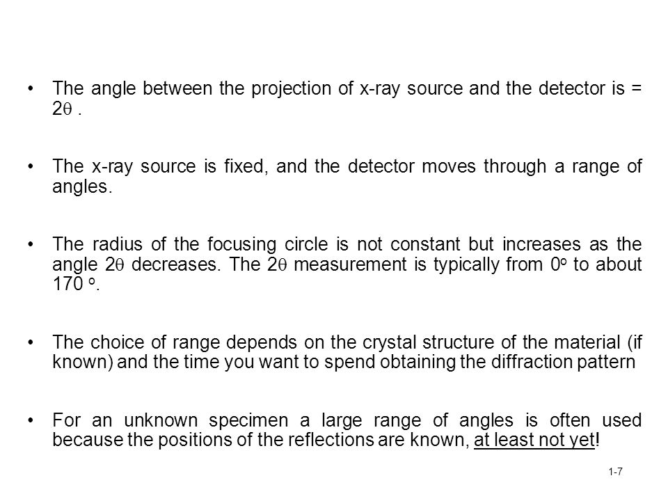 The angle between the projection of x-ray source and the detector is = 2 .