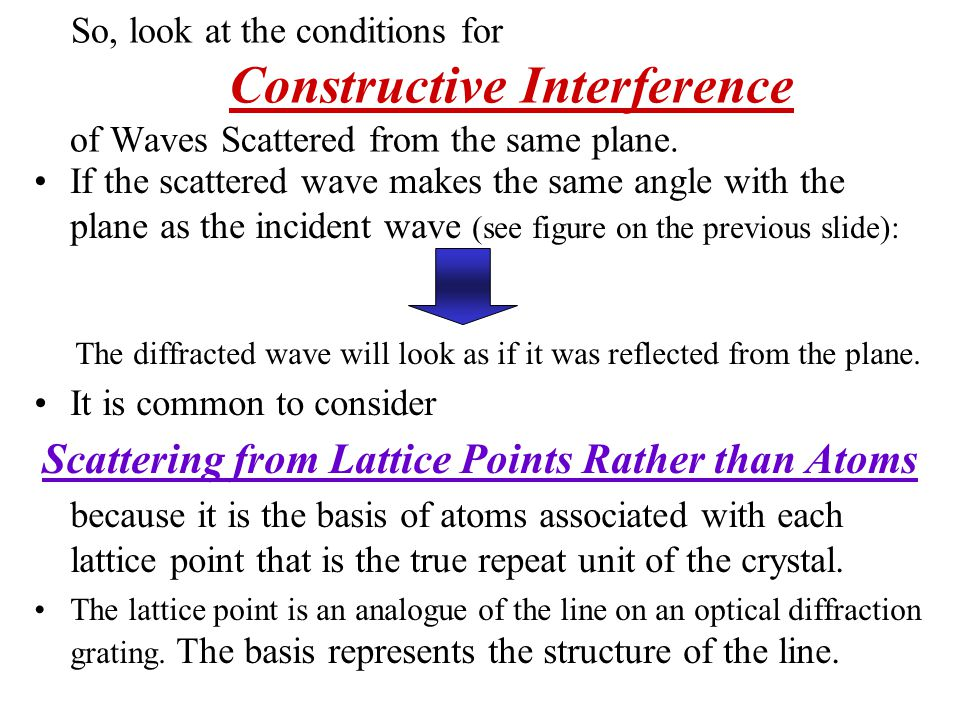 Scattering from Lattice Points Rather than Atoms