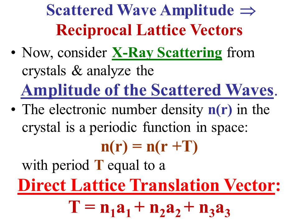 Reciprocal Lattice Vectors Direct Lattice Translation Vector: