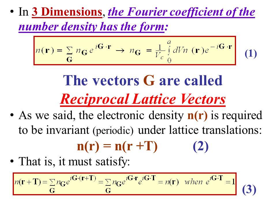 The vectors G are called Reciprocal Lattice Vectors