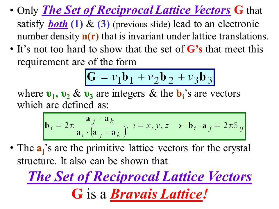 The Set of Reciprocal Lattice Vectors
