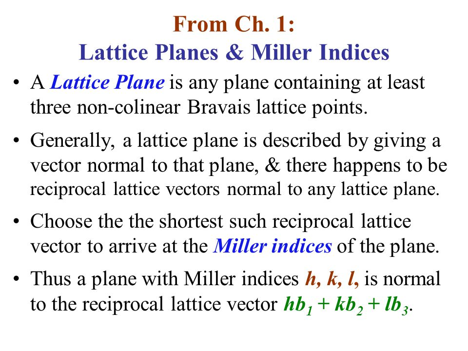 From Ch. 1: Lattice Planes & Miller Indices
