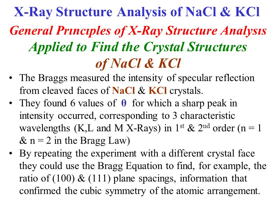 X-Ray Structure Analysis of NaCl & KCl