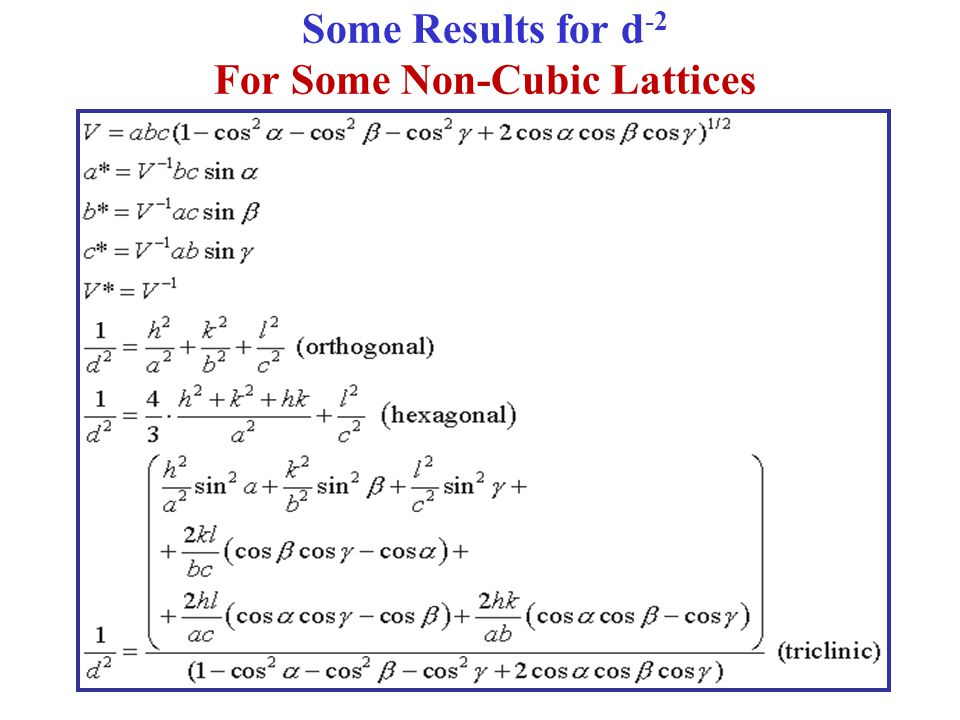 Some Results for d-2 For Some Non-Cubic Lattices