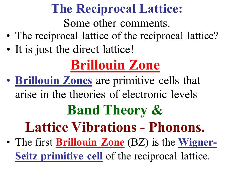 The Reciprocal Lattice: Some other comments.