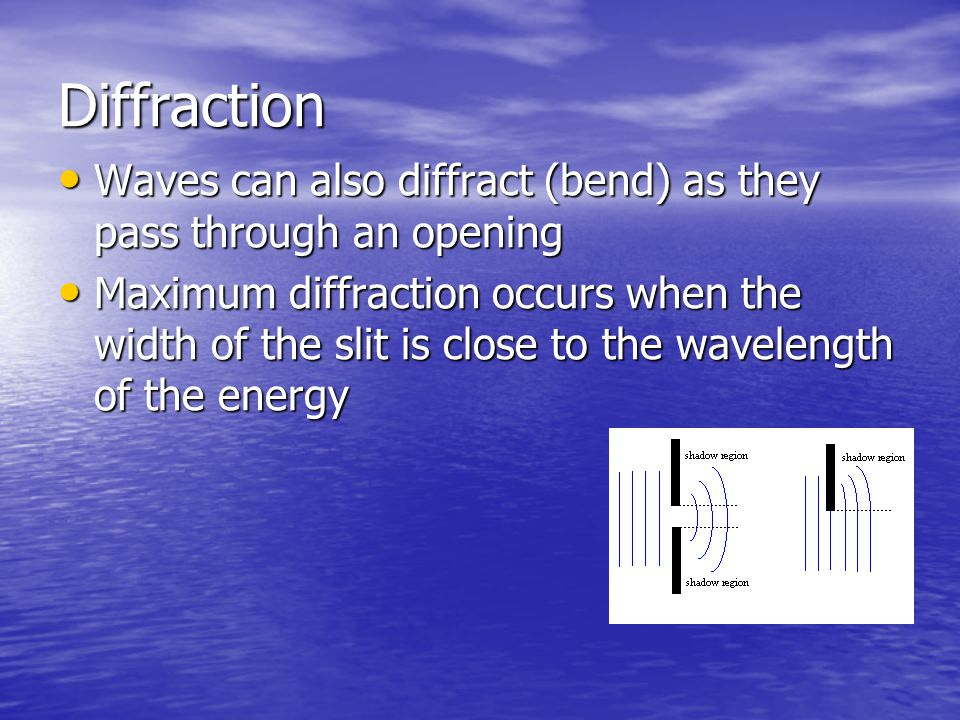 Diffraction Waves can also diffract (bend) as they pass through an opening.