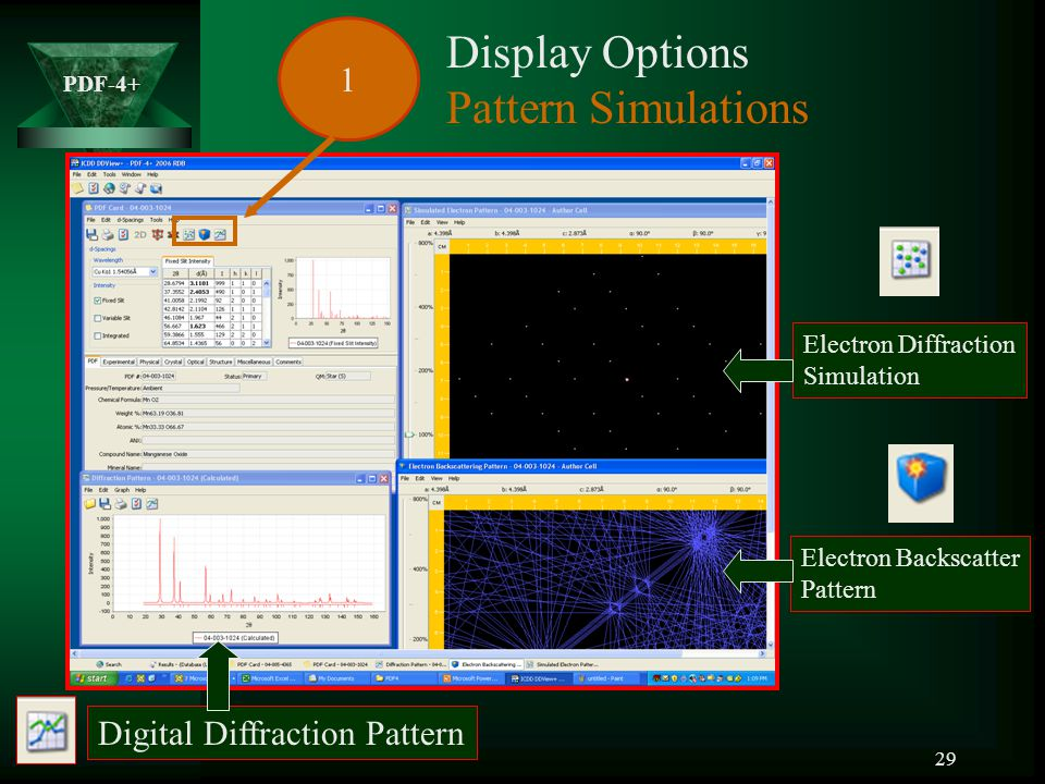 Display Options Pattern Simulations 1 Digital Diffraction Pattern