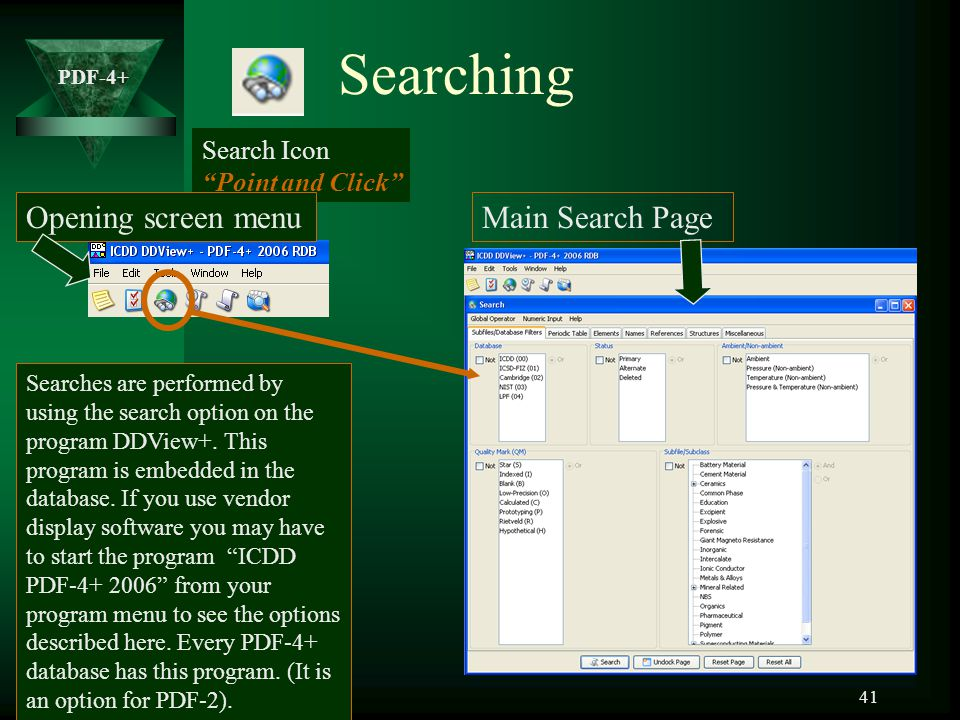 Searching Opening screen menu Main Search Page Search Icon