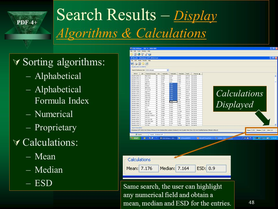 Search Results – Display Algorithms & Calculations