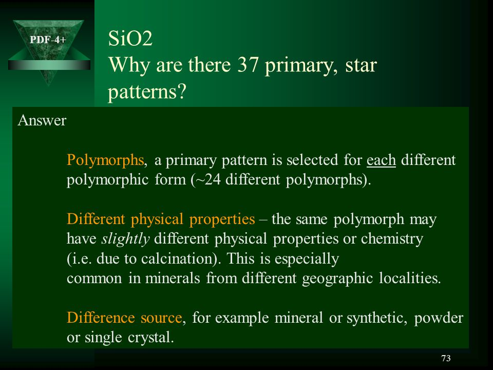 SiO2 Why are there 37 primary, star patterns