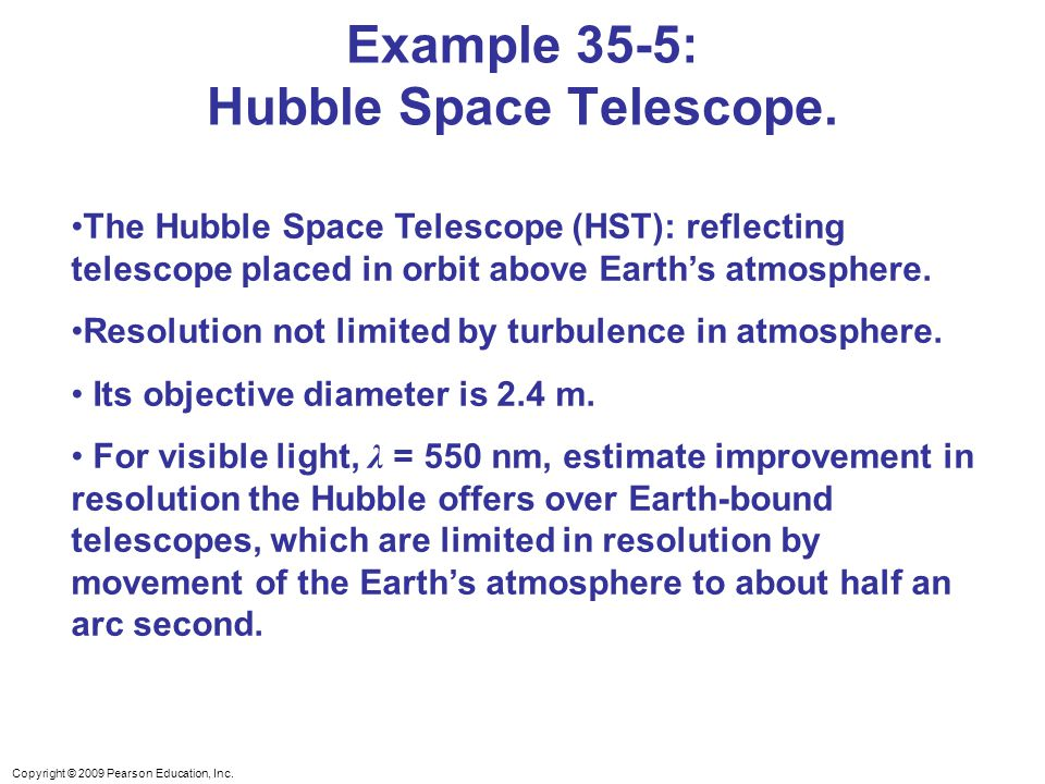 Example 35-5: Hubble Space Telescope.